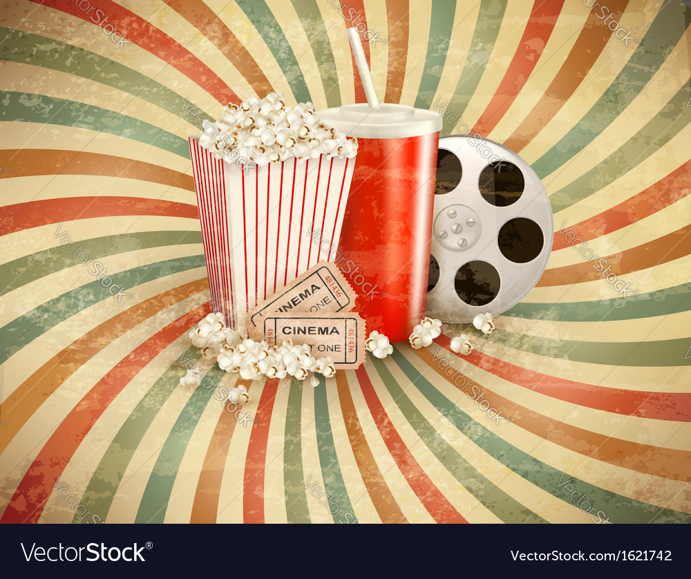 Retro background with Popcorn and a drink