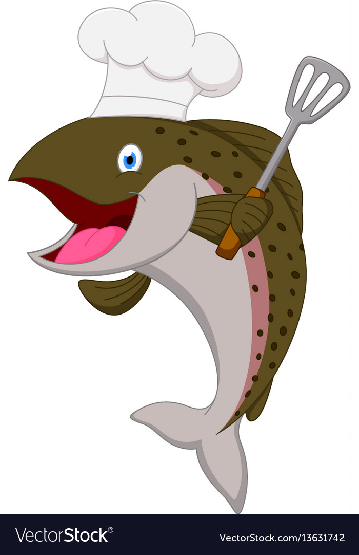 Salmon chef fish cartoon