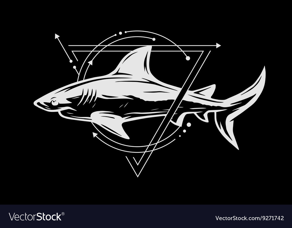 Shark on background geometric elements vector