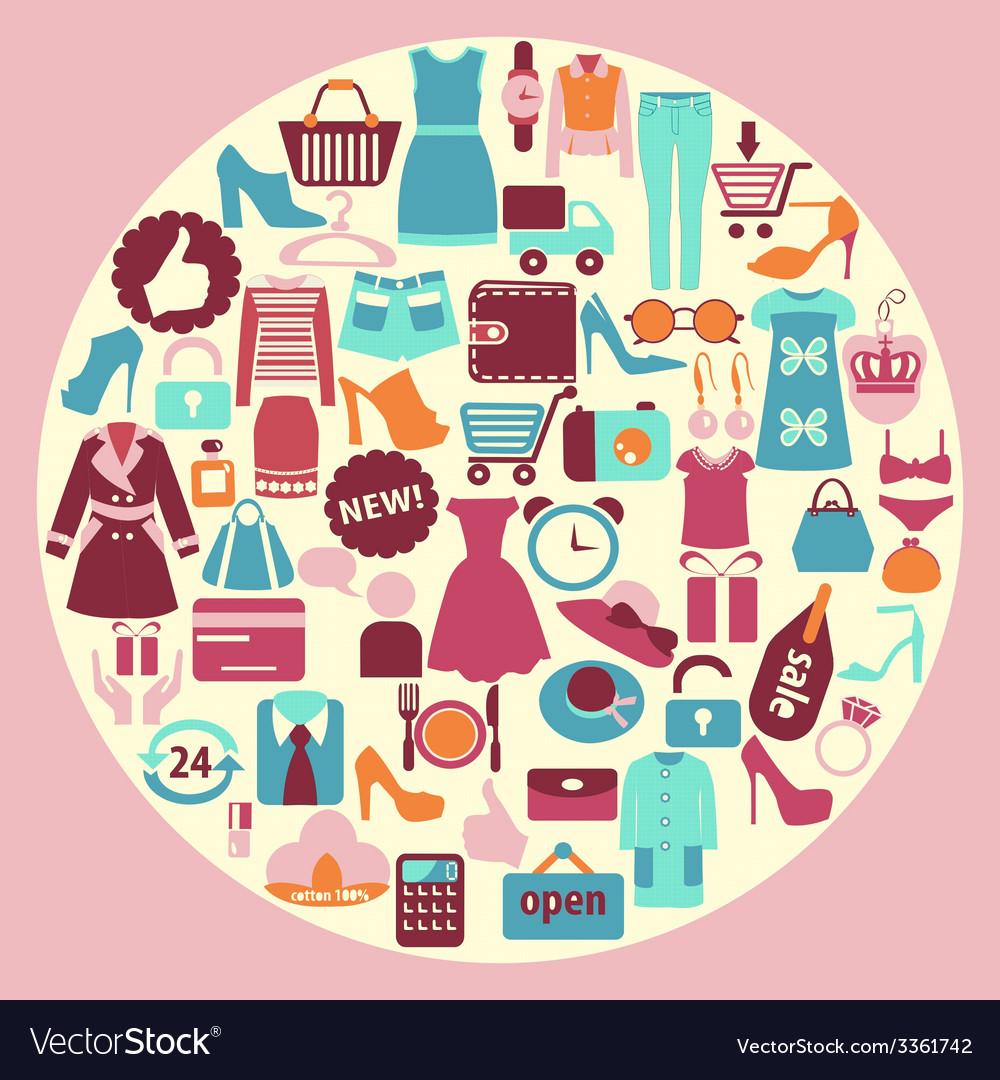 Shopping and fashion icons - background