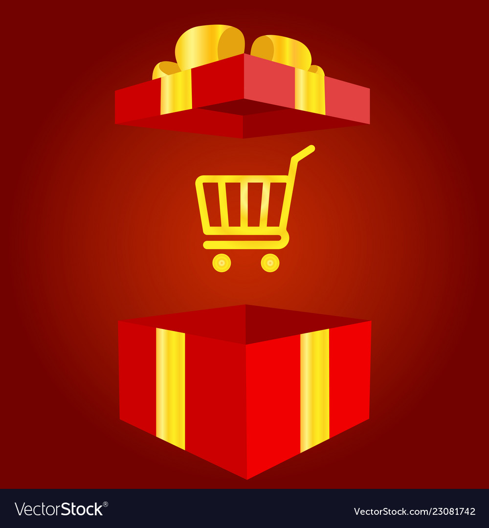 Shopping bag with gift box icon present or sale