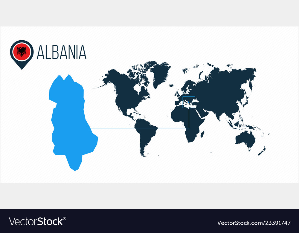 Albania Location On The World Map For Royalty Free Vector