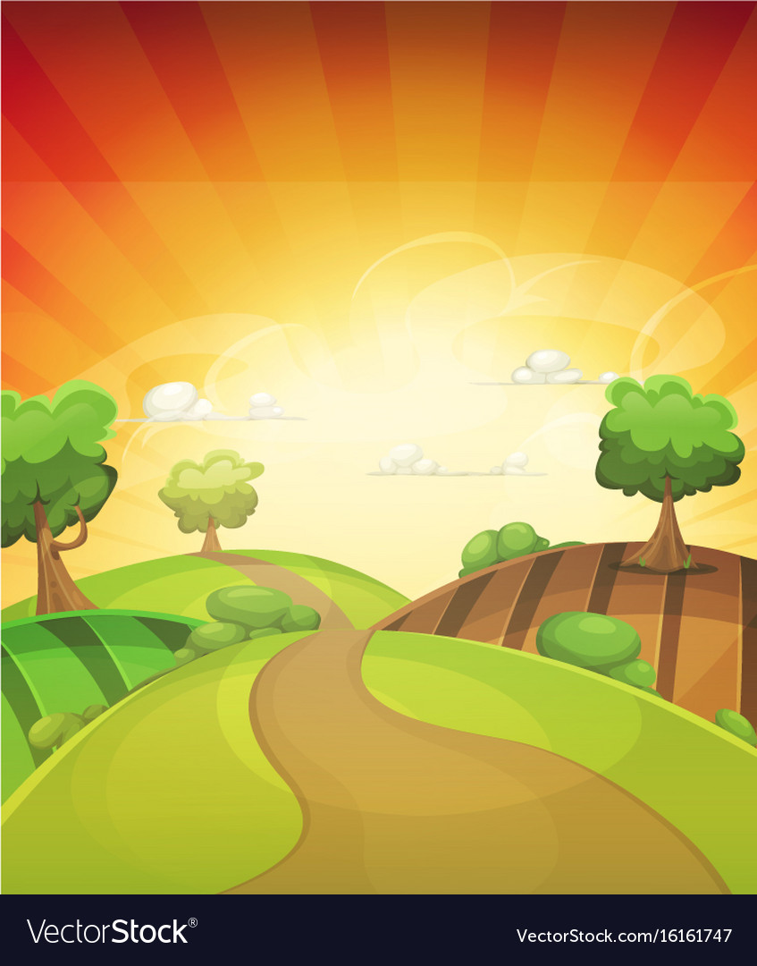 Cartoon Country Background In Spring Or Summer Vector Image