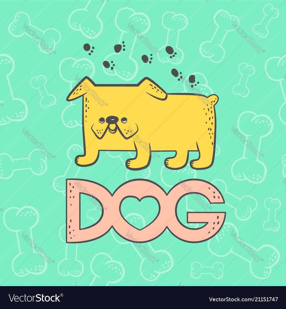 Cute dog bulldog funny caricature animal