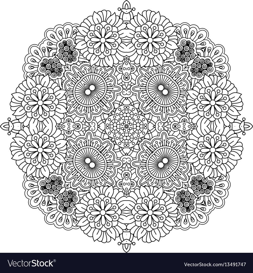 Floral zentangle round decorative element