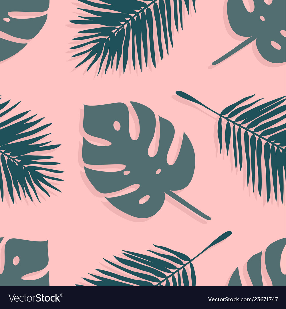 Hand drawn summer seamless pattern with palm