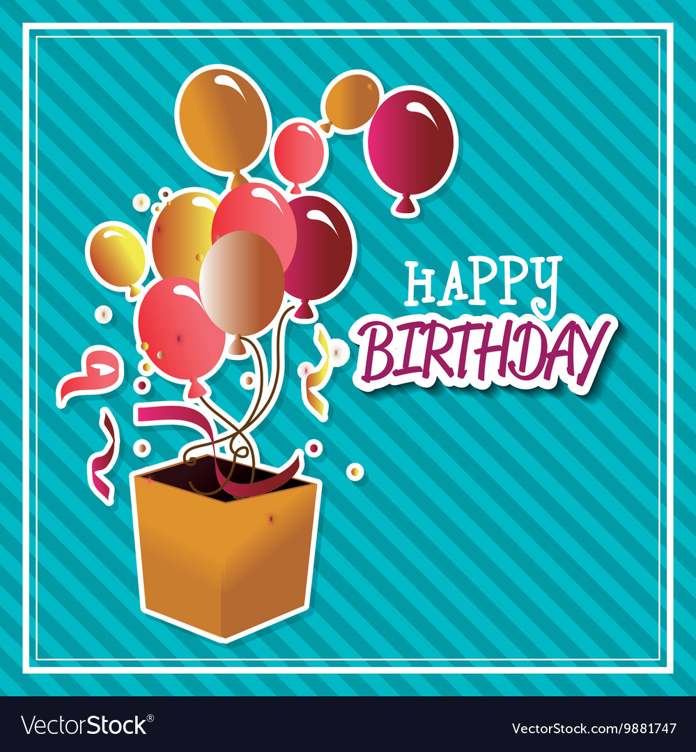 Happy birthday surprise box with balloons vector image