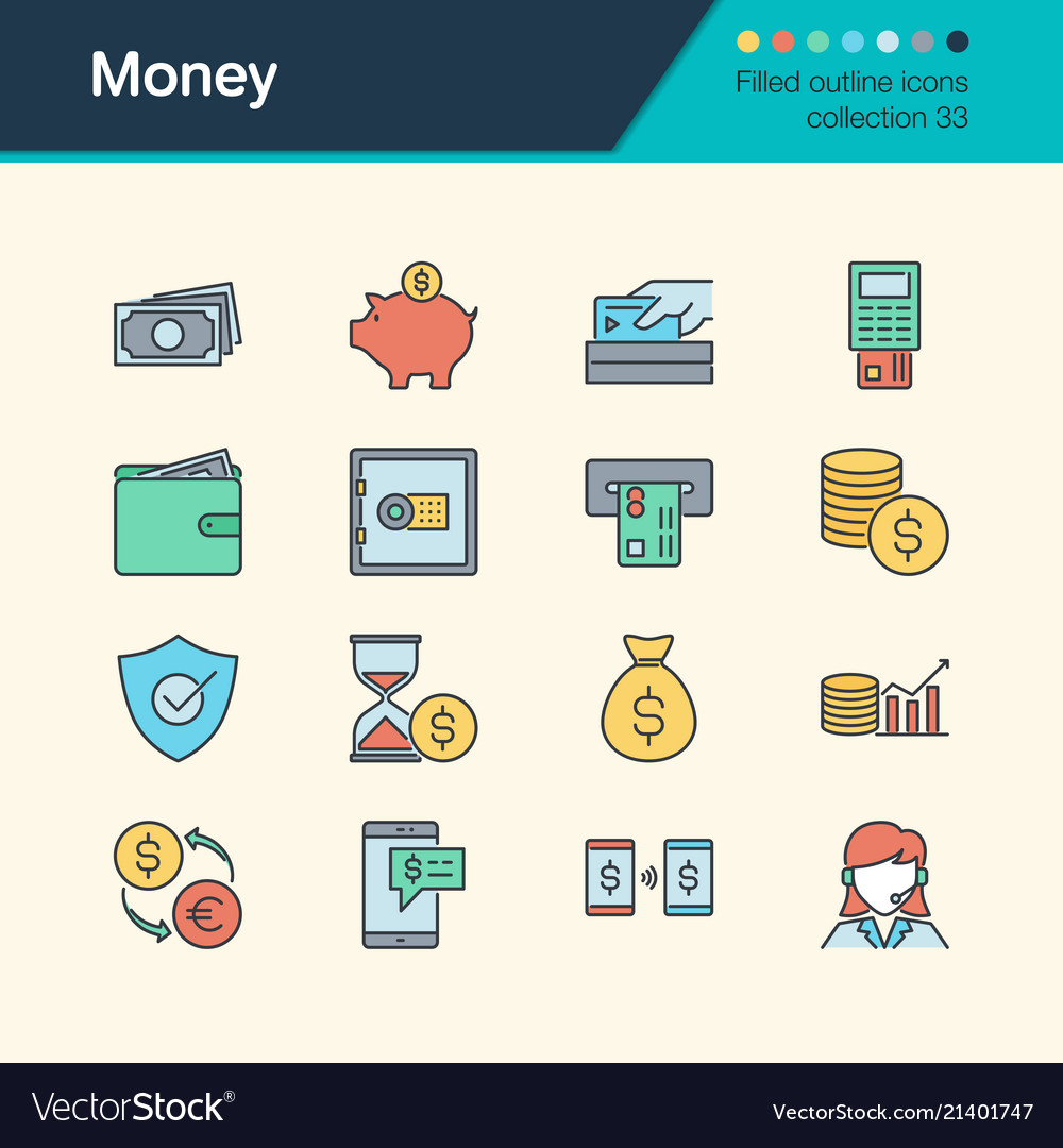 Money icons filled outline design collection 33