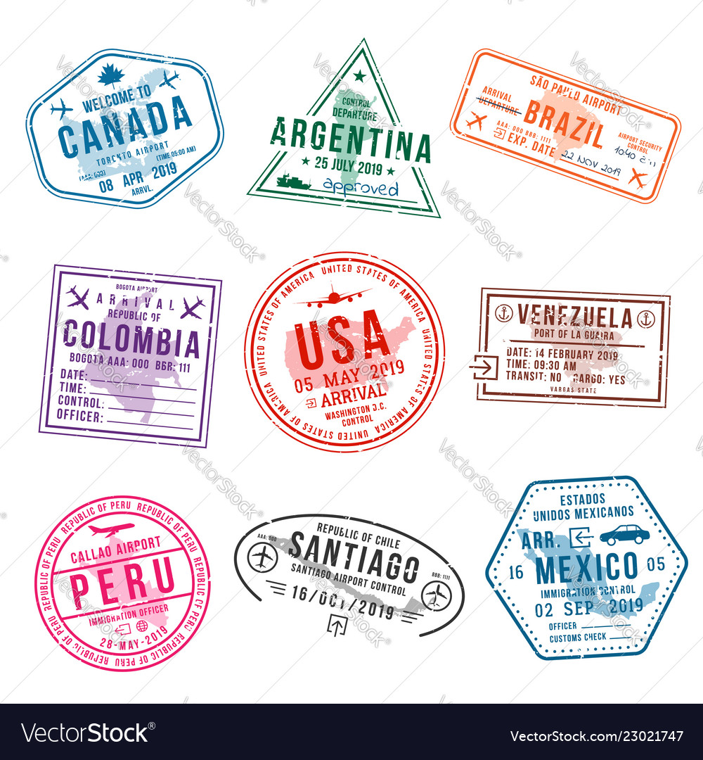 Set of travel visa stamps for passports abstract