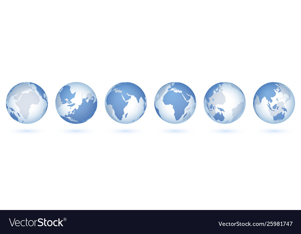 Transparent world globe 3d realistic sphere with