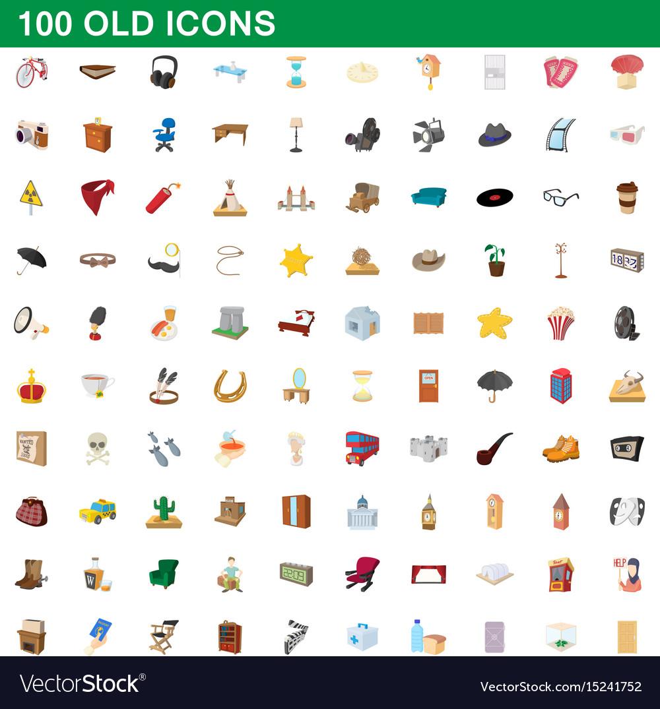 100 old icons set cartoon style