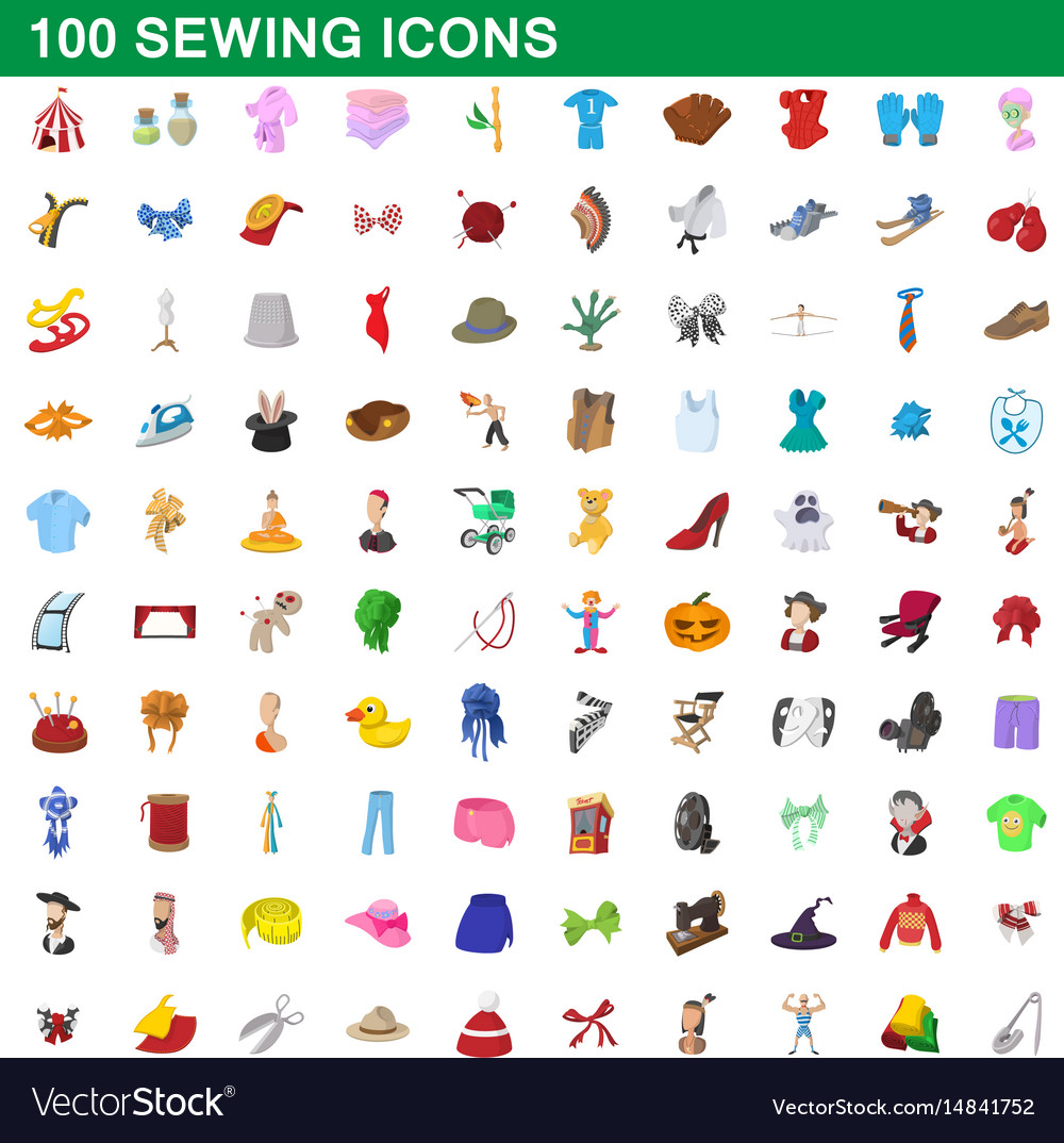 100 sewing icons set cartoon style