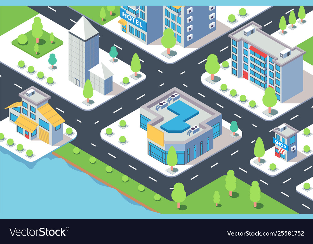 3d isometric city building with hotel shop river