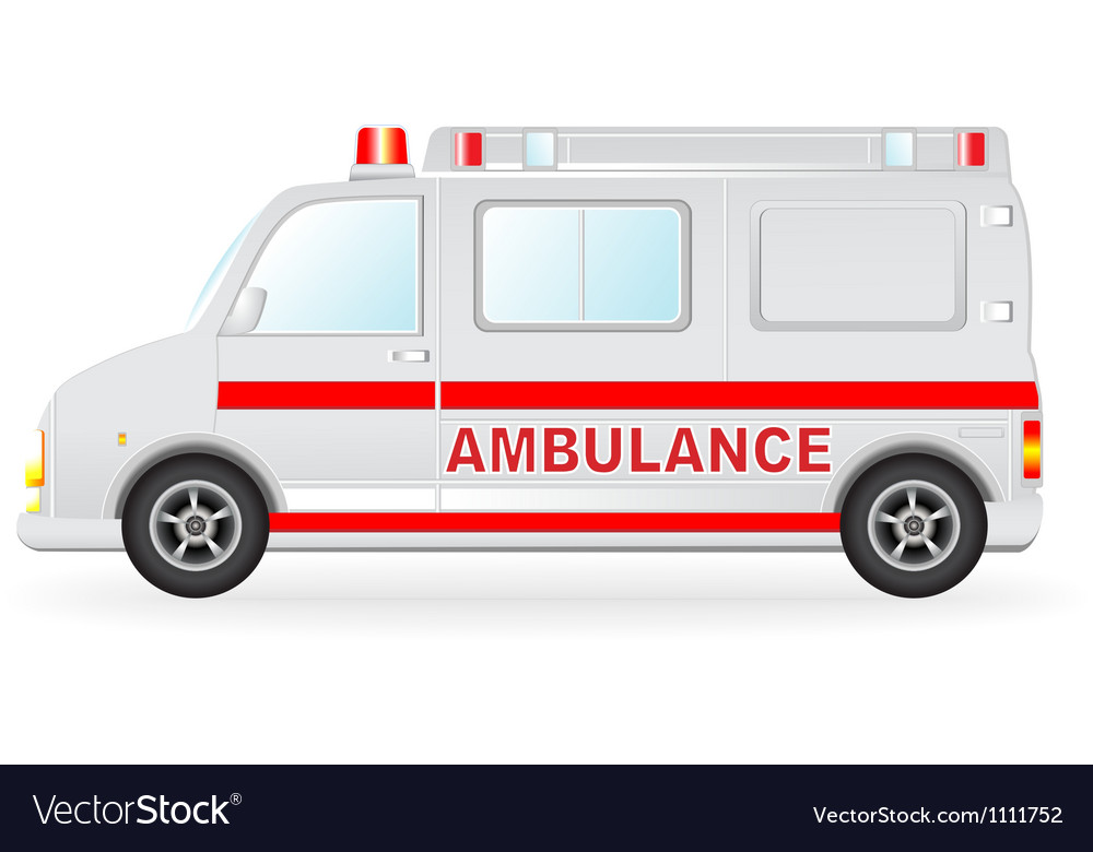 Ambulance car silhouette on white background vector image
