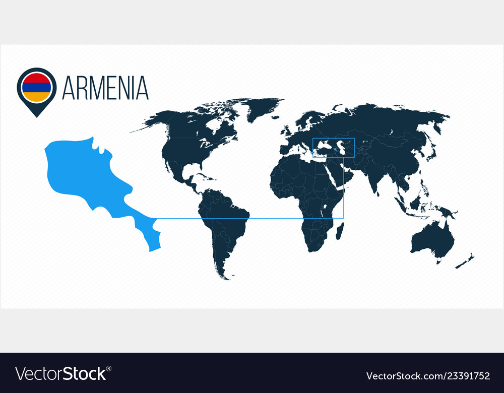 Armenia Location On The World Map For Royalty Free Vector