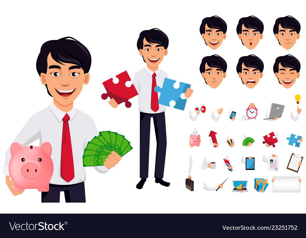 Asian business man concept of cartoon character