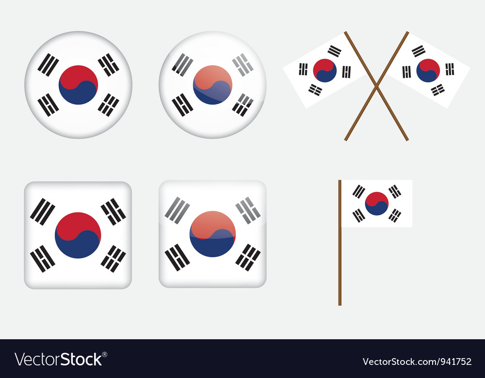 Badges with flag of South Korea