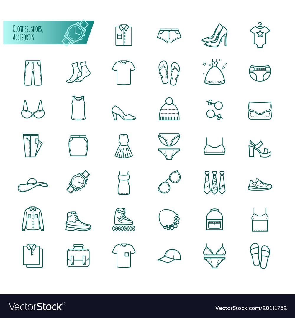 Clothes shoes accessories outline set vector image