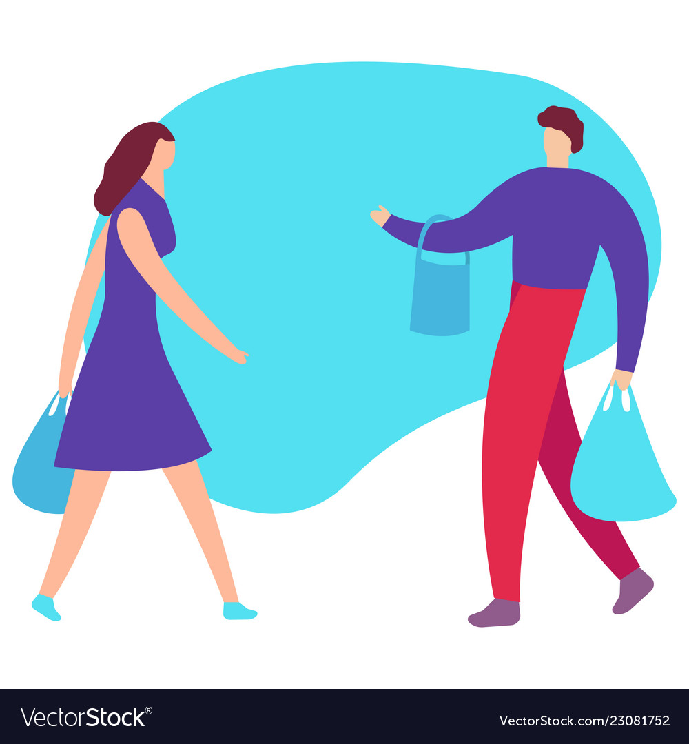 Couple of young people shopping man and woman