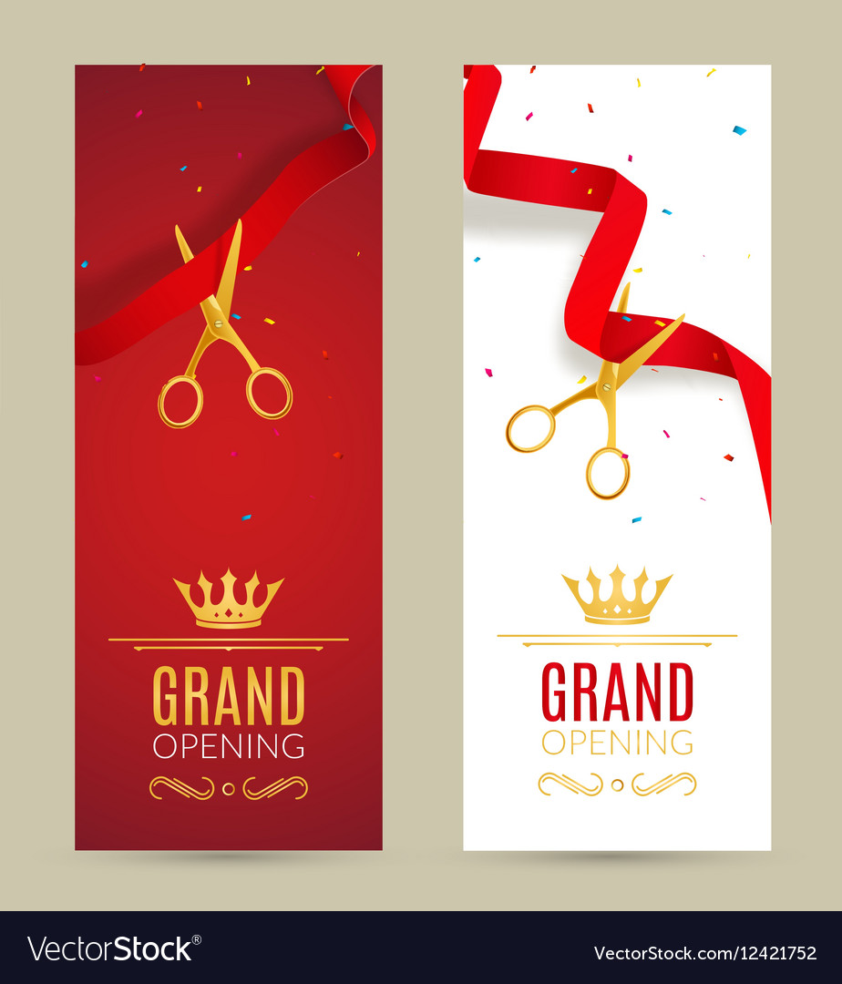 Grand Opening Invitation Banner Red Ribbon Cut