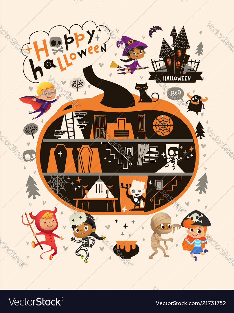 Halloween party design template with the hand