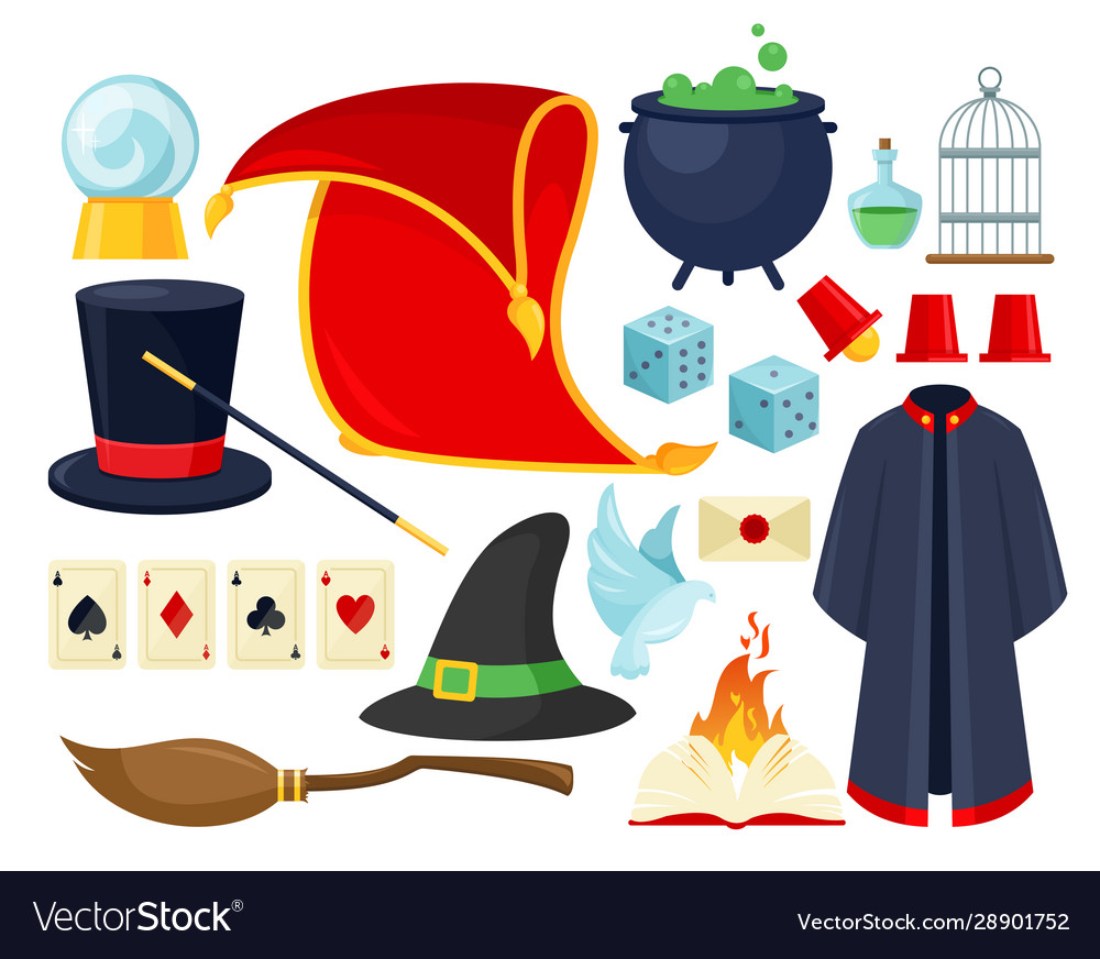 Magician accessories colorful flat