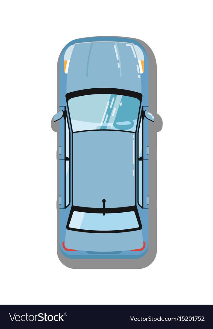 Modern sedan top view icon