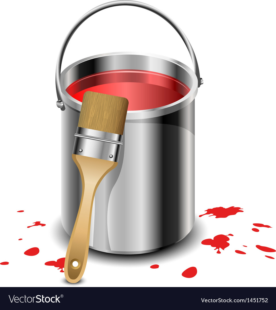 Paint bucket with paint brush Royalty Free Vector Image