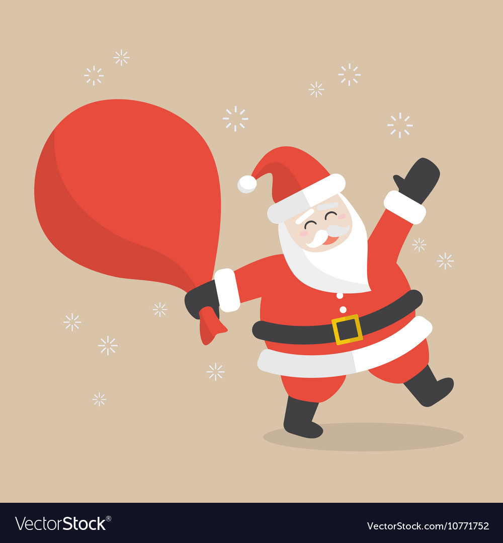 Santa Claus with big bag full of gifts vector image