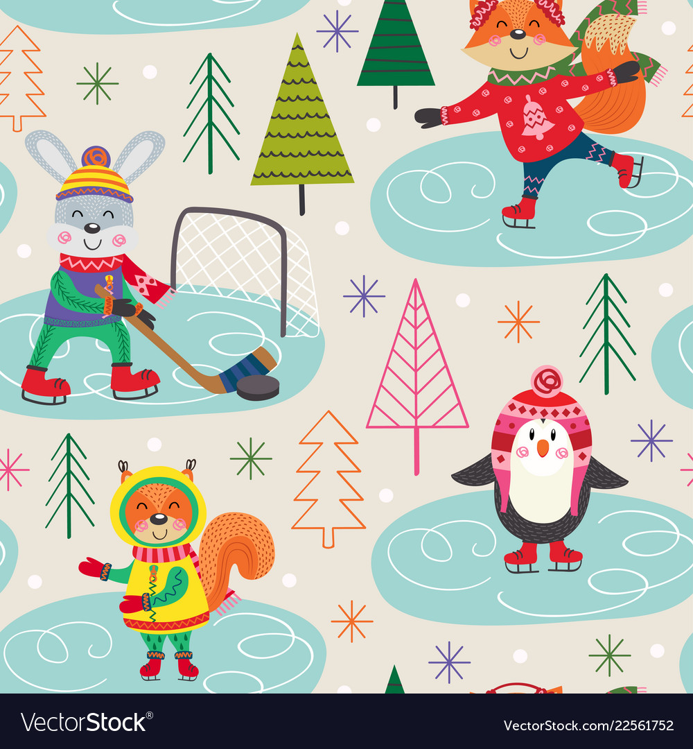 Seamless pattern winter with animals on skating
