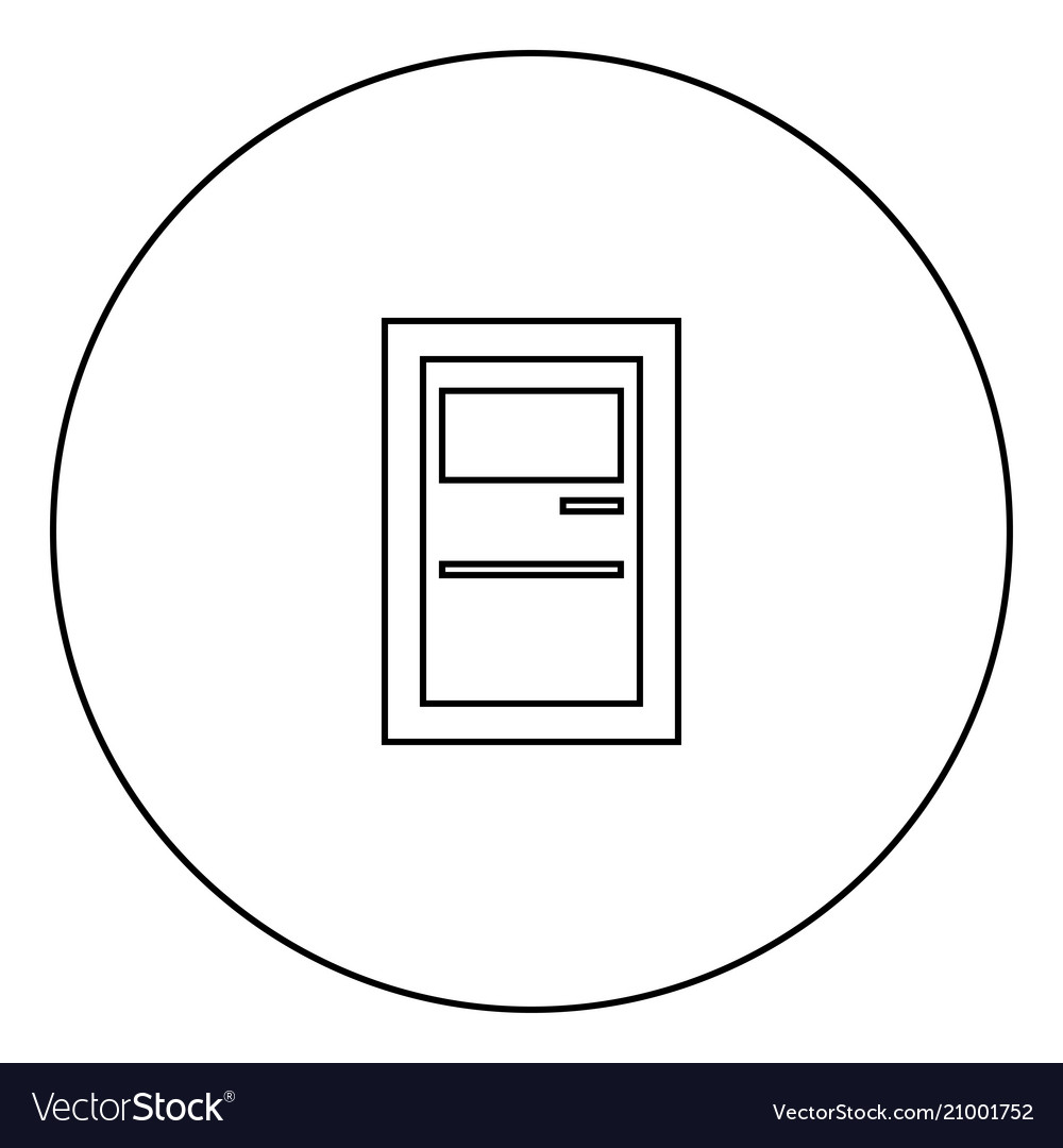 Service terminal black icon in circle outline