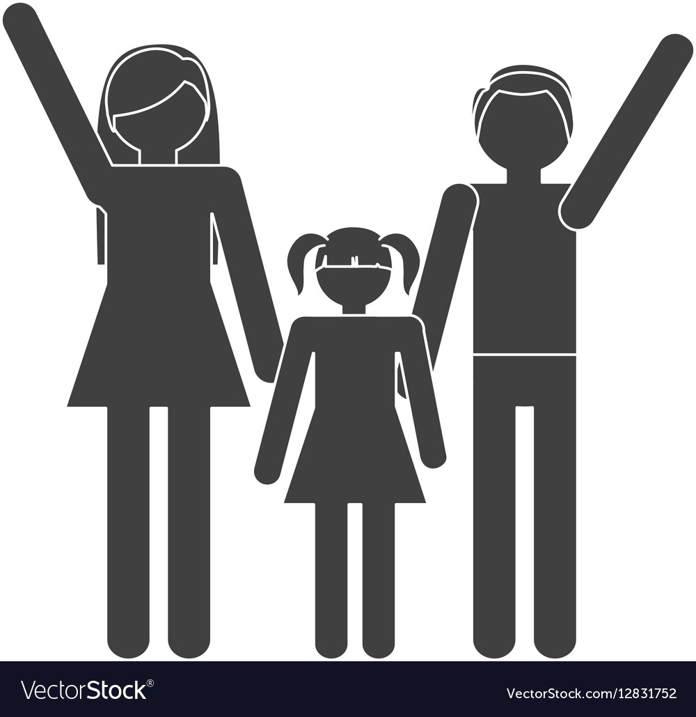 Silhouette family mother father daughter together