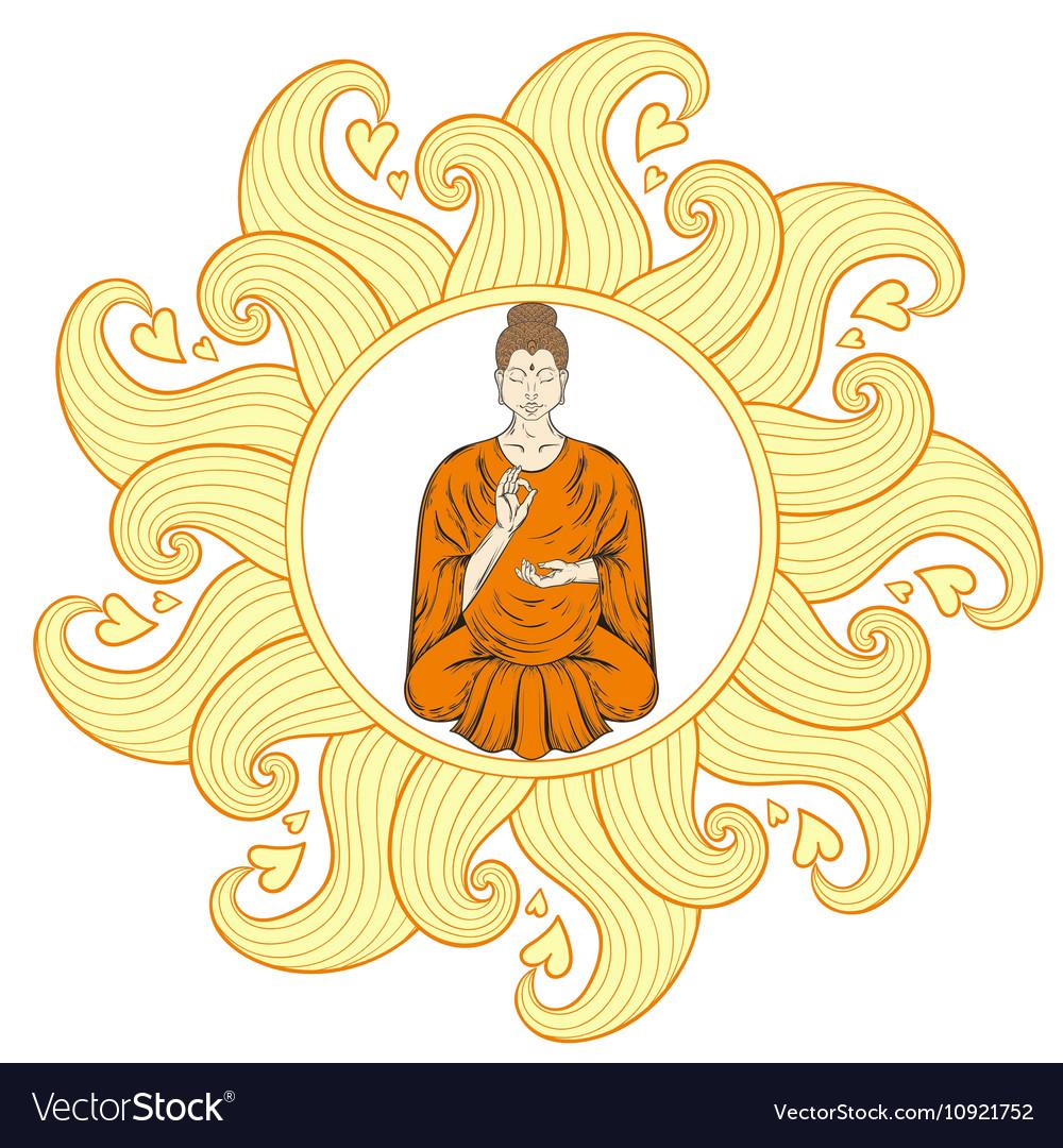 Sitting Buddha In Lotus Pose Waves Mandala Vector Image