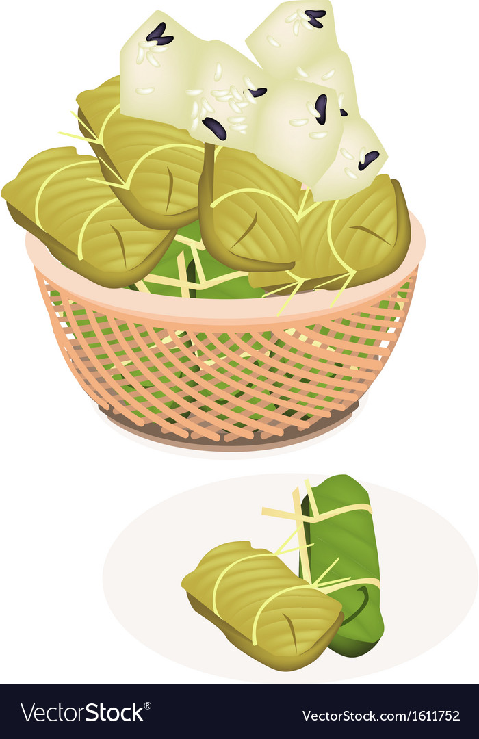 Steamed Sticky Rice with Banana in A Brown Basket