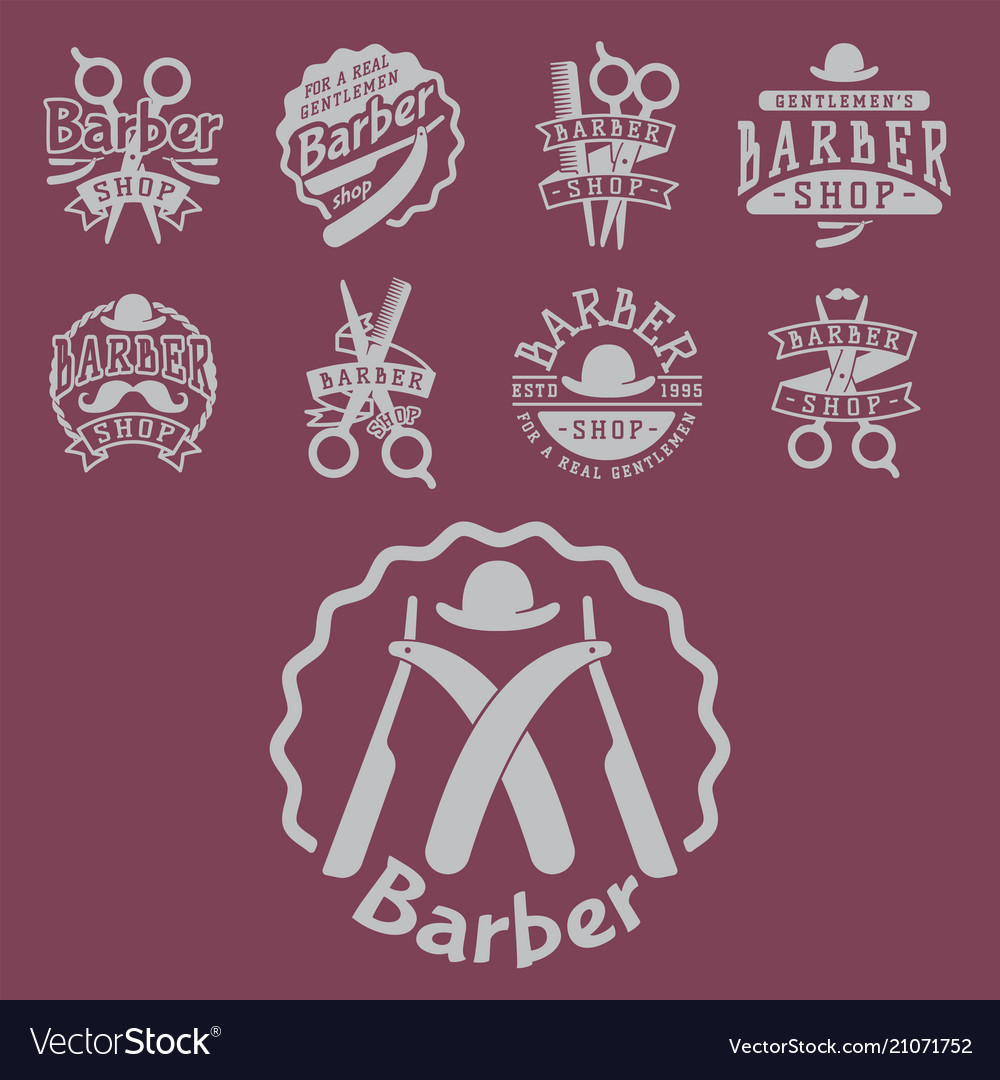 Vintage barber logo retro style haircutter