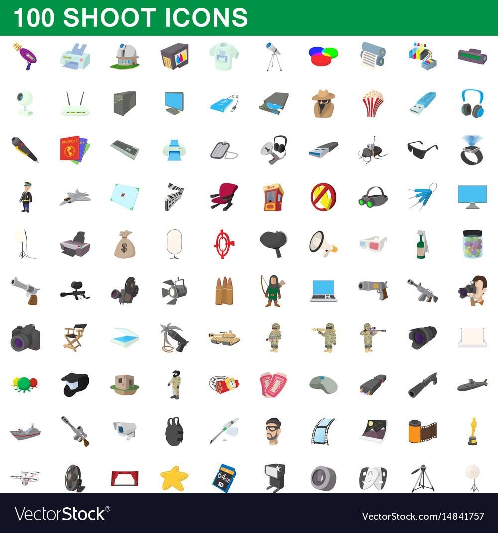 100 shoot icons set cartoon style
