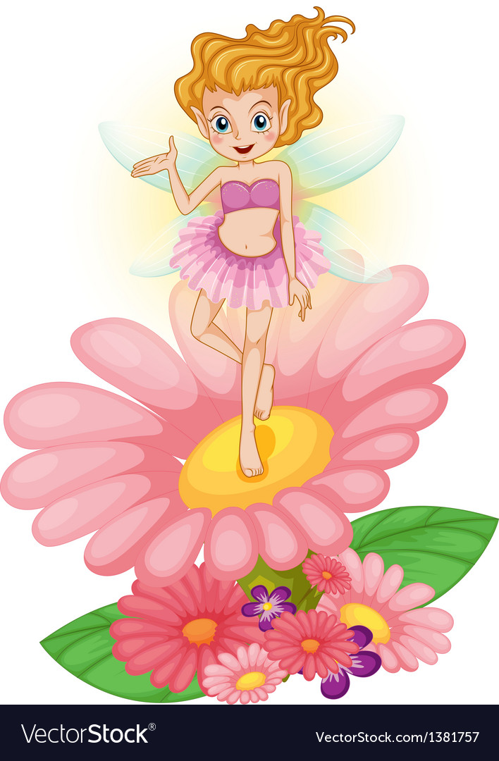 A fairy standing above the flower