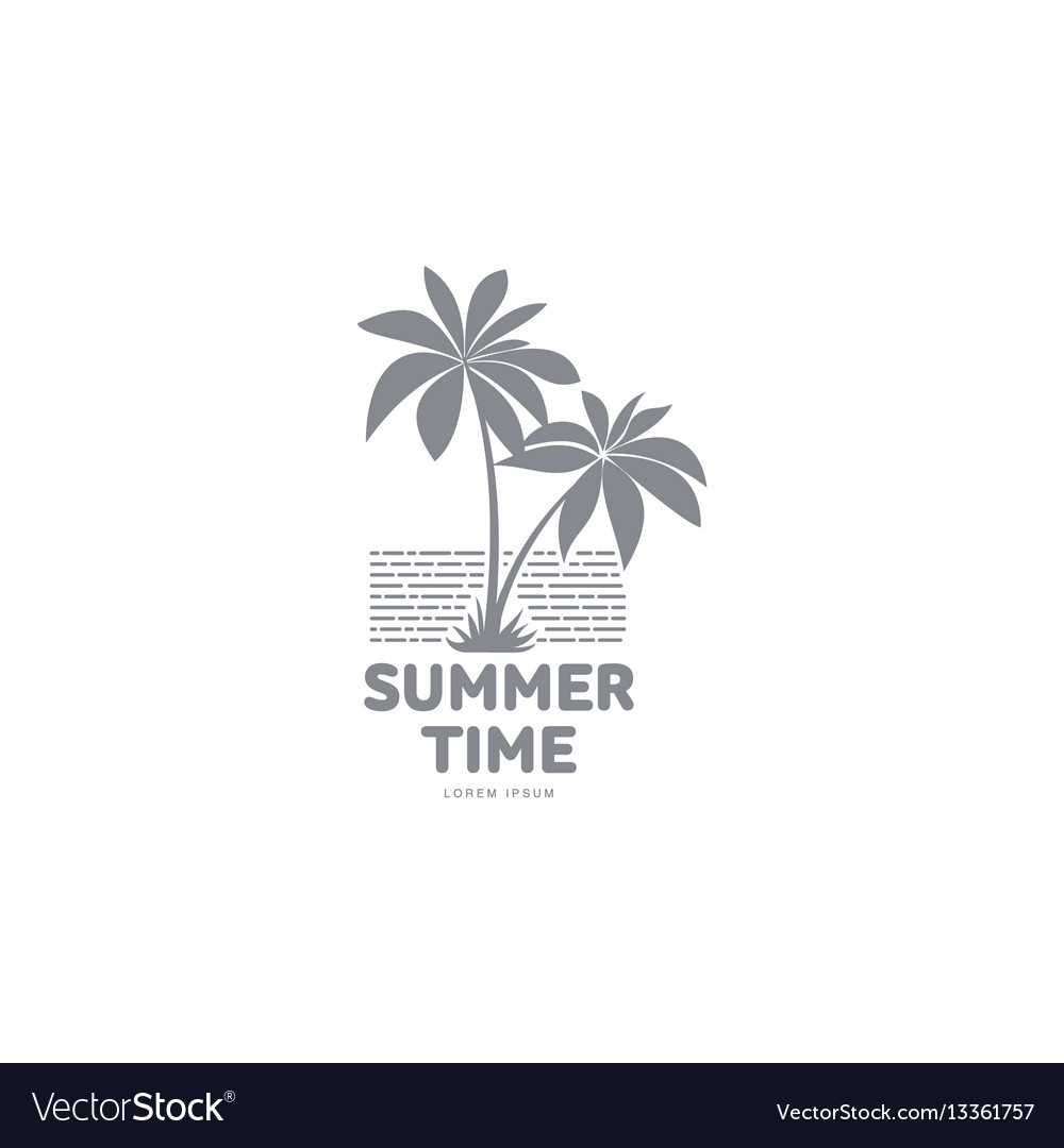 Black and white logo template with two palm trees