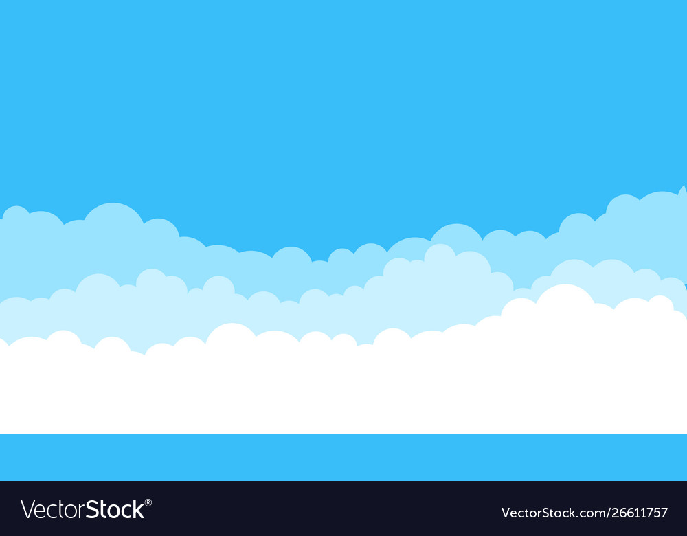 Blue cartoon sky background cloud flat blue sky