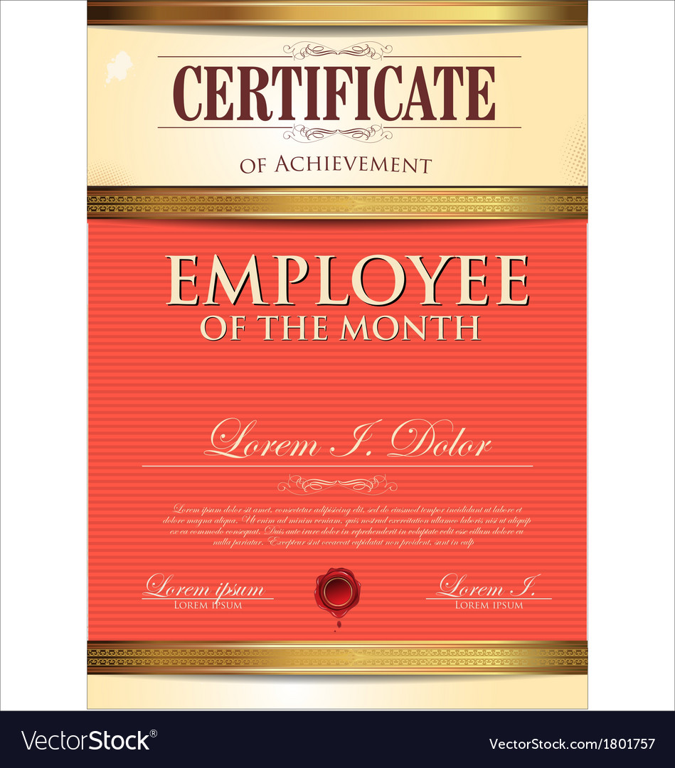 Certificate template employee of the month vector image yadclub Gallery
