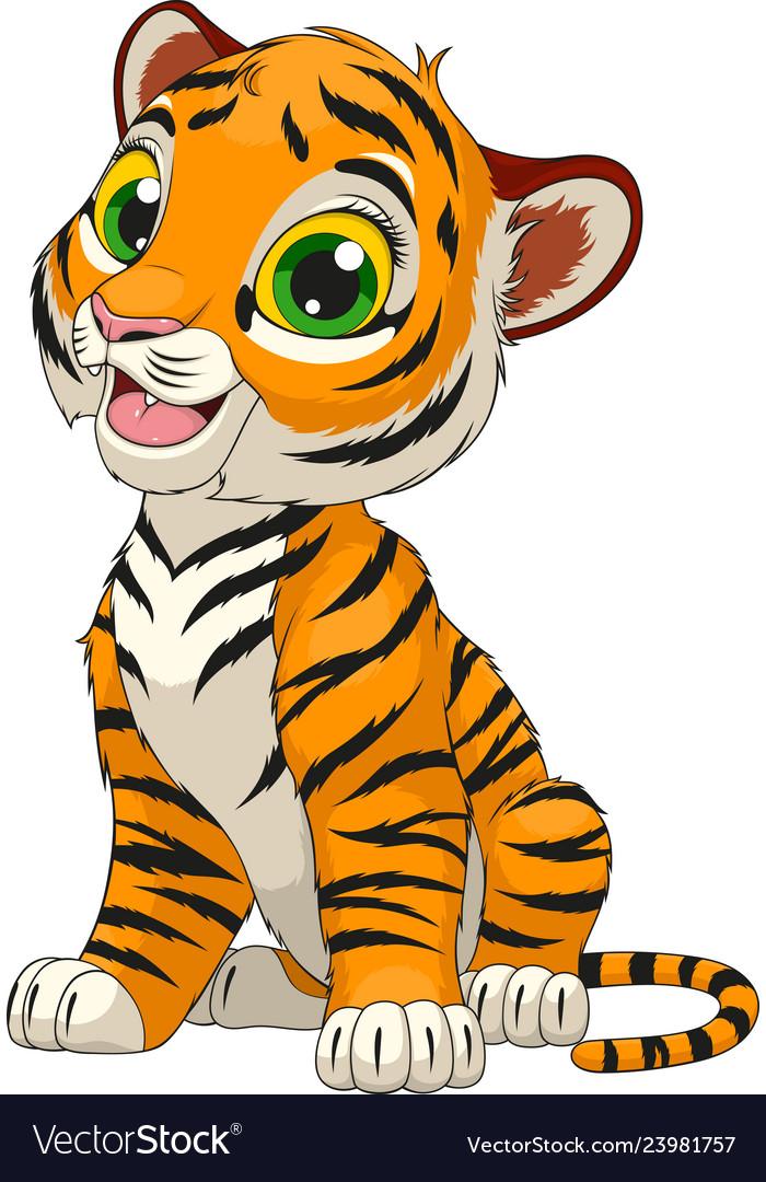 Funny Cute Tiger Cub Royalty Free Vector Image