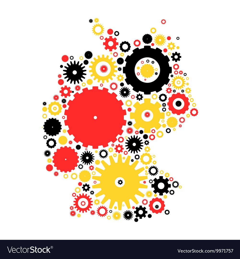 Germany map silhouette mosaic of cogs and gears vector image