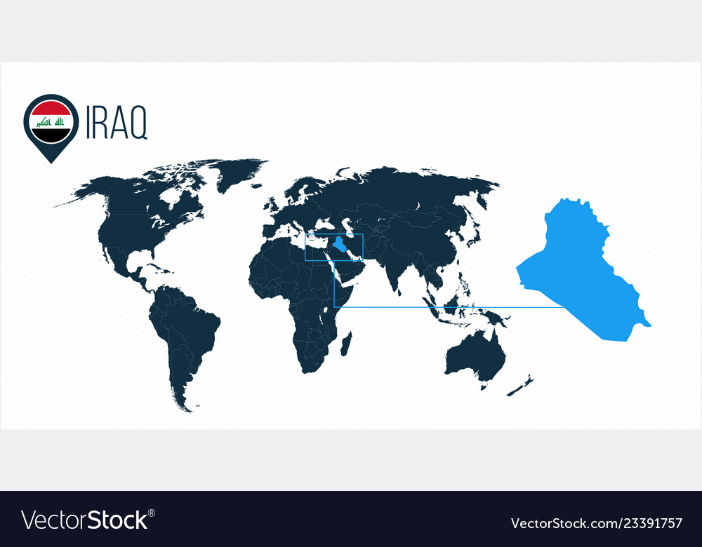Where Is Iraq Located On The World Map.Iraq Location On The World Map For Infographics Vector Image