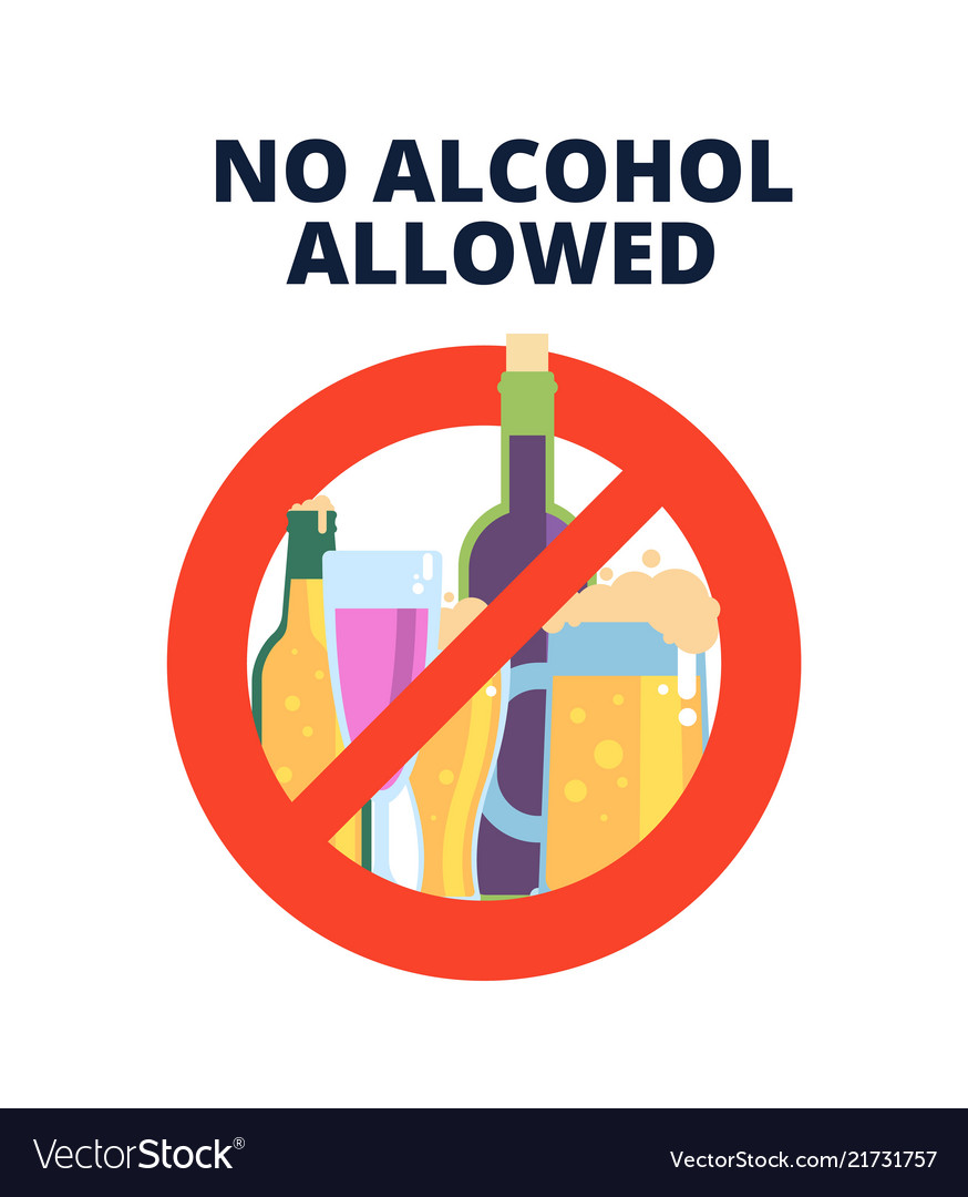 No alcohol sign alcoholic beverages beer in red