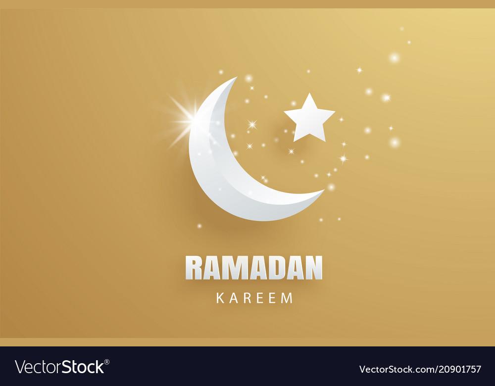 Ramadan kareem greeting card paper art gold