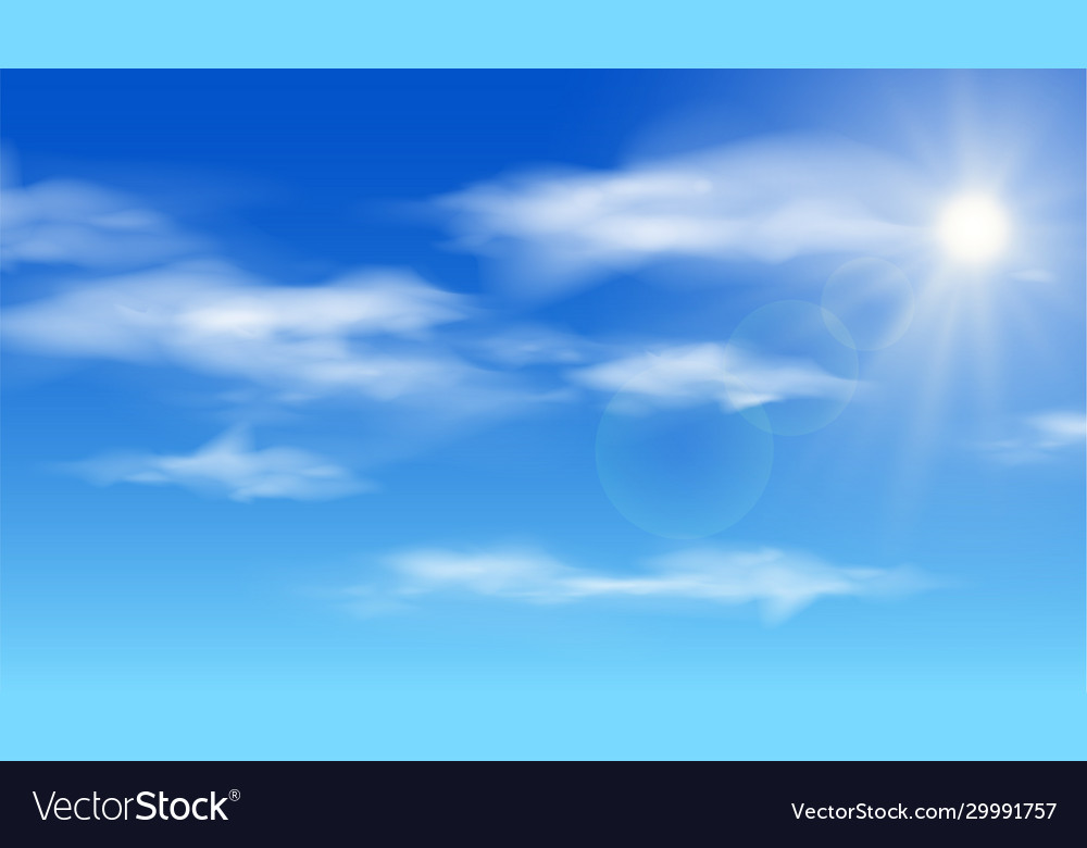 Realistic shining sun with lens flare blue sky
