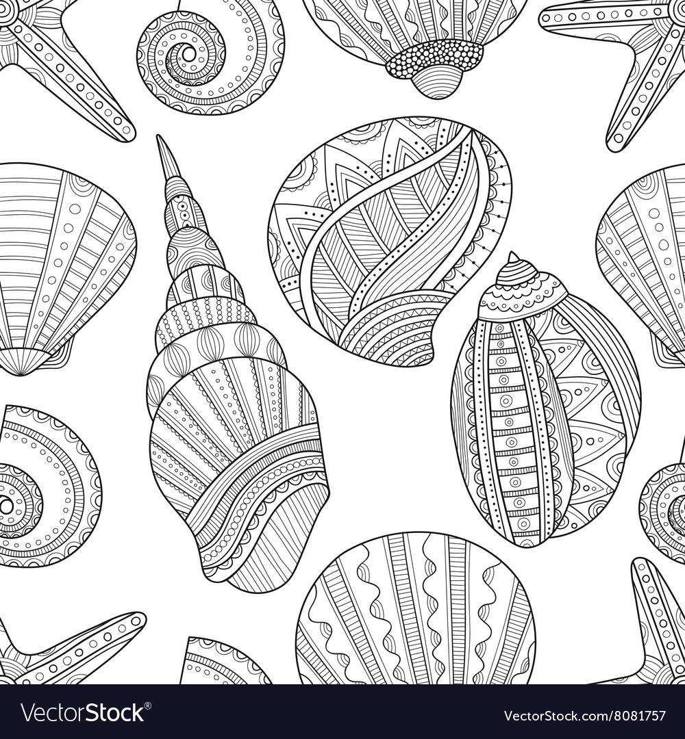 Seamless black and white pattern of seashells to