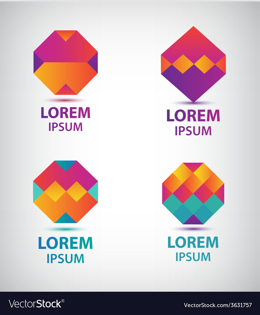 Set of abstract colorful geometric logos