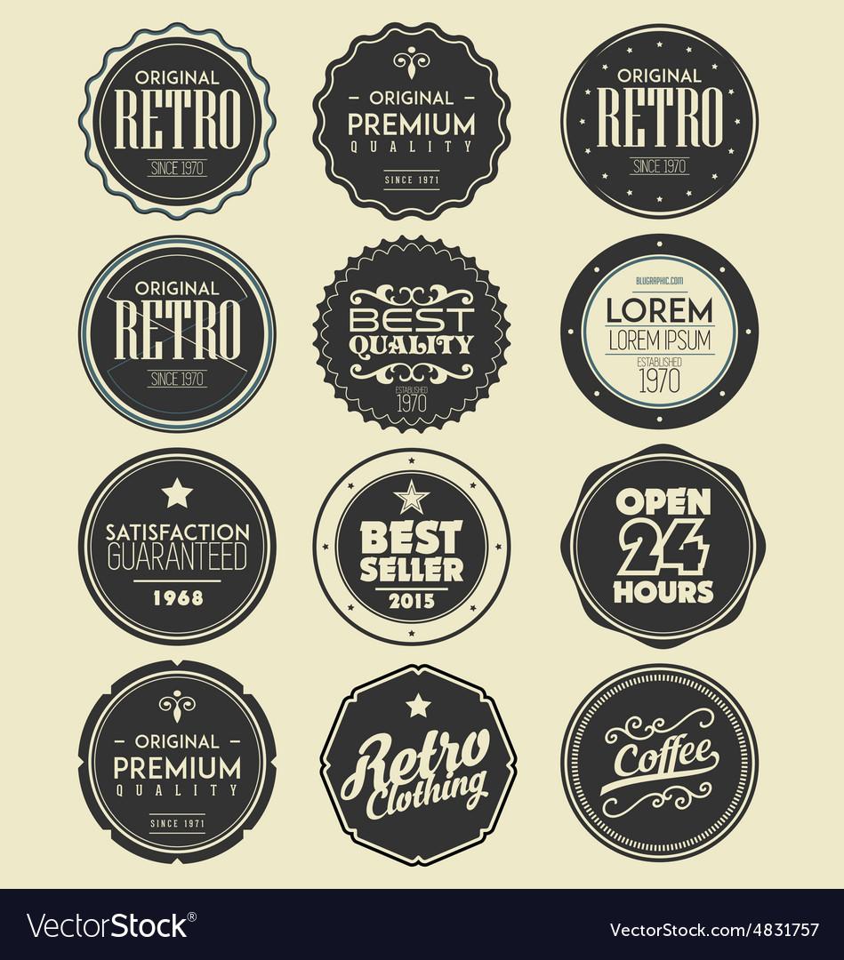 Set of retro labels badges