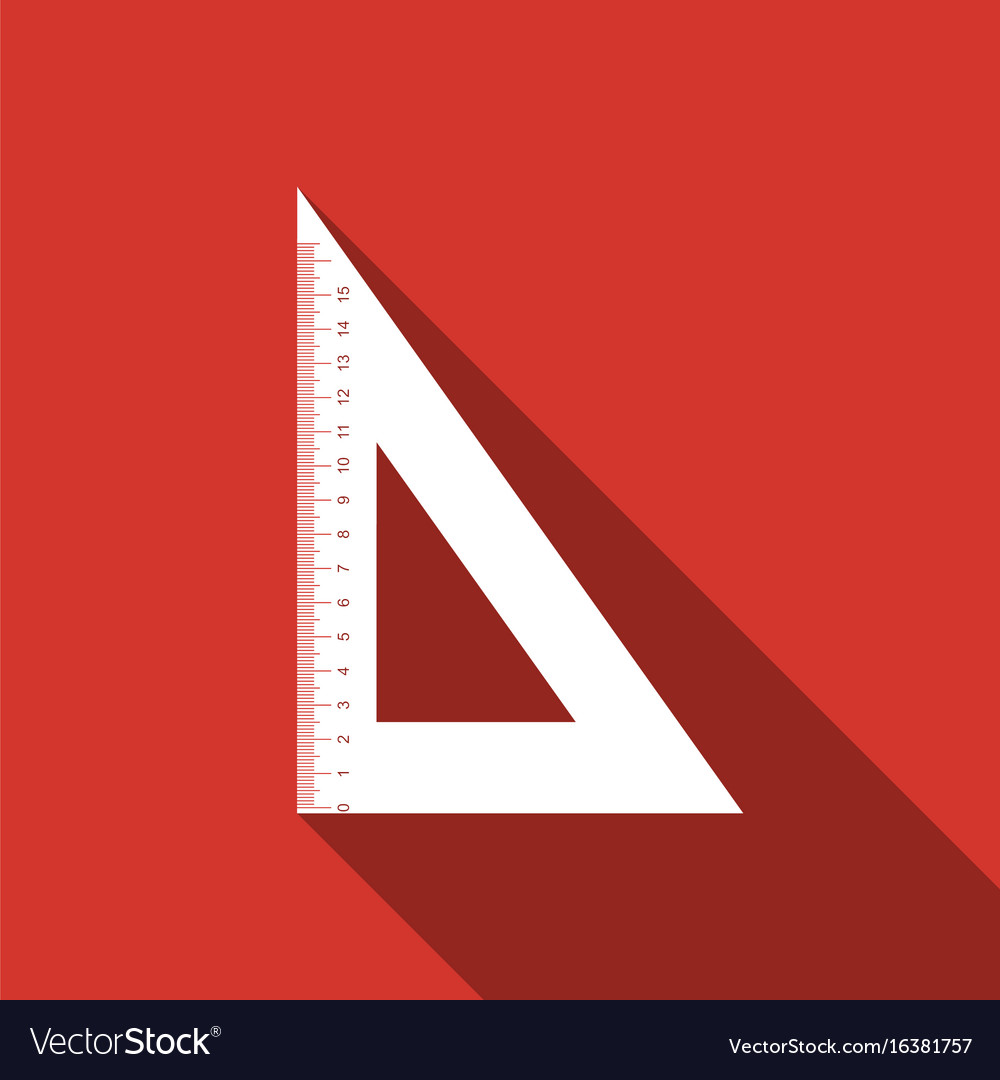 Straightedge symbol ruler icon with long shadow